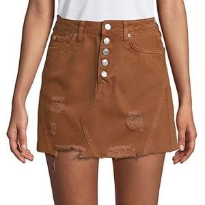 NEW Free People Denim A Line Skirt Bronze 26